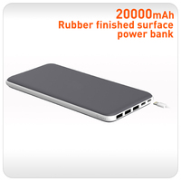 Real capacity rubber finished 3usb powebank 20000 slim
