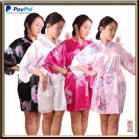 factory wholesale good sew thick silky satin bride silk robe
