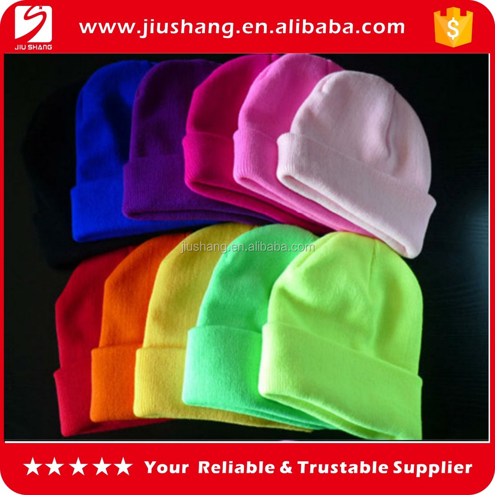 High quality baby acryric knitted beanie cap with woven label