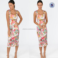 2015 Wholesale Clothing New Arrival Pink Floral Women Midi Dresses