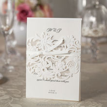 2014 New wedding greeting Laser Cut Invitation Card Design with Lined Envelope WM203