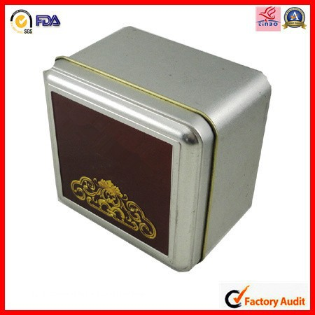 square high grade slimming tea green tin box