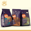 purple full color printed foil bag for packing 200g coffee with one way valve