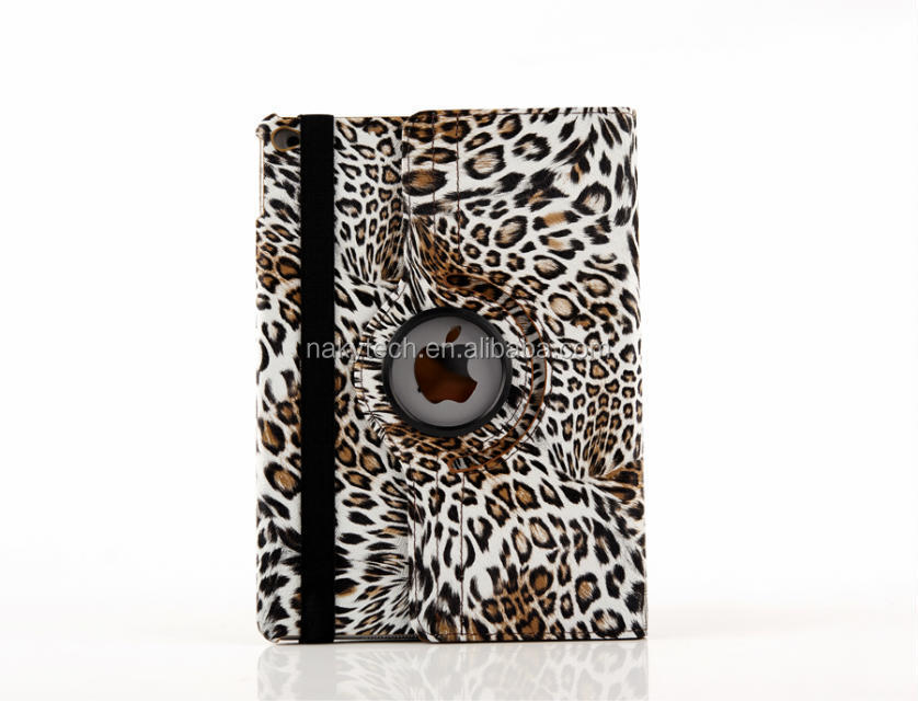 360 degree rotatable leather leopard flip case for ipad air 2