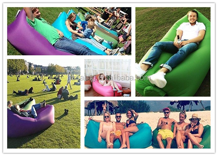 MOQ 10PCS!!!2016 Popular Nylon Fabric Beach Lounger Outdoor Convenient Inflatable Hangout Lounger Air Sleeping Bag