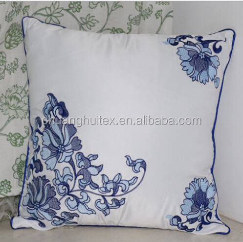 Chinese style faux silk embroidery cushion cover for home decoration