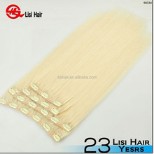 New Arrival Brand Name cheap 160g double drawn clear hair extension clips