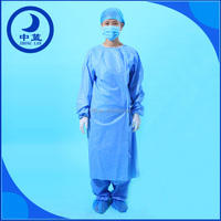 Sterile SMS/Non-woven disposable surgical gown, medical surgical gown standard or reinforced disposable hospital gowns
