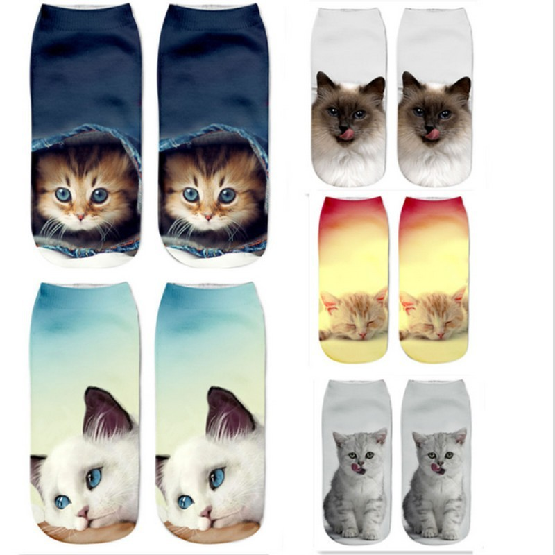 Manufacturer fashion cute cat sock custom 3d photo print animal cartoon sock