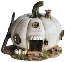 Miniature White Pumpkin Resin Fairy House
