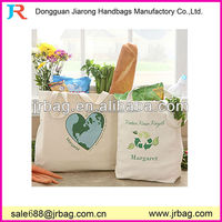 Eco natural color raw cotton canvas tote Bag with Monogram prined shopping & shopper shoulder handbags