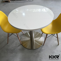 Artificial stone single leg round dining table