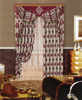 Latest window crown curtain design living room drapery curtain