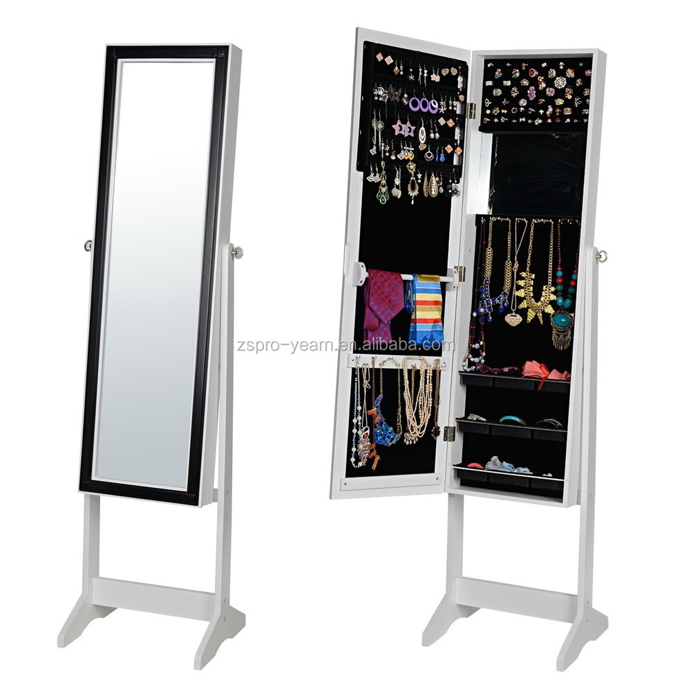 Cheap Standing Cheval Mirrored Wooden Jewelry Cabinet Armoire with Cosmetic Mirror for Jewellery Storage and Dressing and Makeup