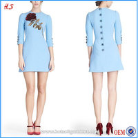 Latest Fashion Long Top Long Sleeve Winter Clothing Woman Blue Frock Rose Embellished Wool Crepe Dress