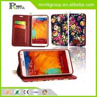 book style card holder printing flower leather phone case for samsung Galaxy Note3 N9000