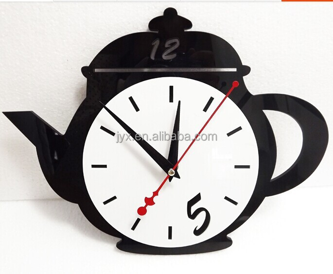 Acrylic teapot wall clock/plexiglass wall clock/lucite wall clock