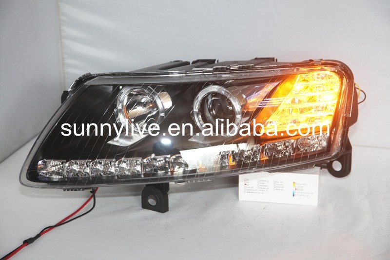 for original car with HID KIT For Audi A6L Angel Eyes LED head lamp 2005 - 2008 year LD
