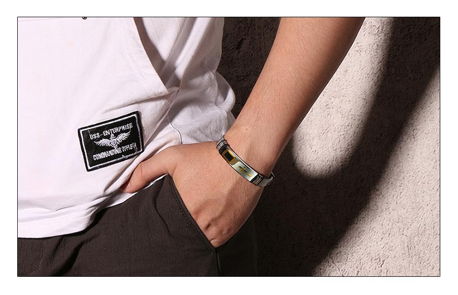 Meaeguet Stainless Steel Cross Charm Bracelet & Bangle Men Adjustable Watch Bands Wristband Bracelet Christian Jewelry (4)