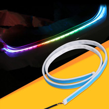 New Car Rear Tail Light Brake Turn Signal Led Lamp Flexible Strip Rear Light With Double Color Ice Blue Red Running Color,