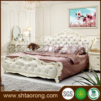 French luxury wooden frame and soft leather double bed