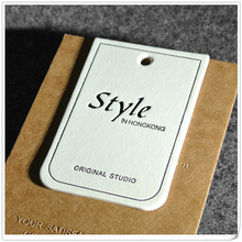 900GSM Letterpress Thick White Cotton Cardboard Paper Clothes Hang Tag with Eyelet and String