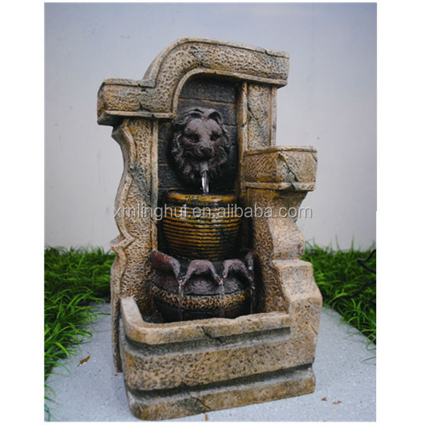 Lion Head Personalized Resin Desk Top Water Fountains