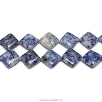 Blue Spot Jasper Diagonal Drilled Square Beads Natural Stone