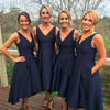 2017 Sexy V-neckline High Low Navy Blue Bridesmaid Dress MB1417