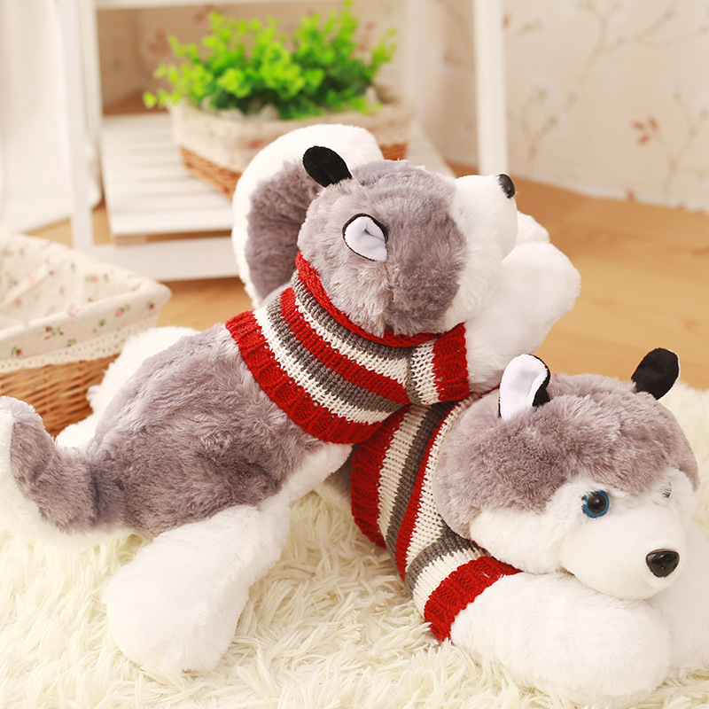 18cm Factory supplies best made toys plush dog stuffed animals for gift cute grey plush husky dog toy