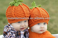 China newborn infant halloween pumpkin baby boy crochet hat