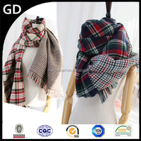GDK0109 Different two sides houndstooth check and tartan plaid popular thick scaf wholesale