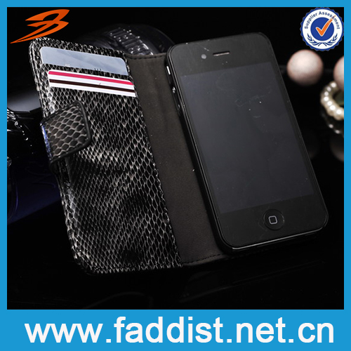 2014 Hot Selling Wallet Case for iphone 4s case snake pattern on sale
