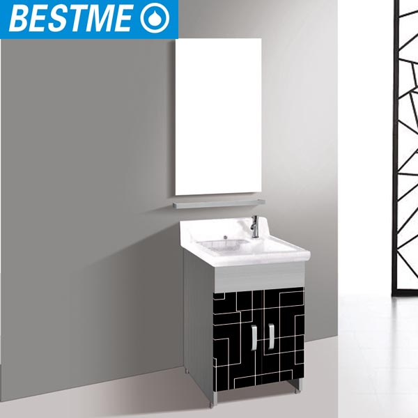 Slim stainless steel frame european modern bathroom vanity