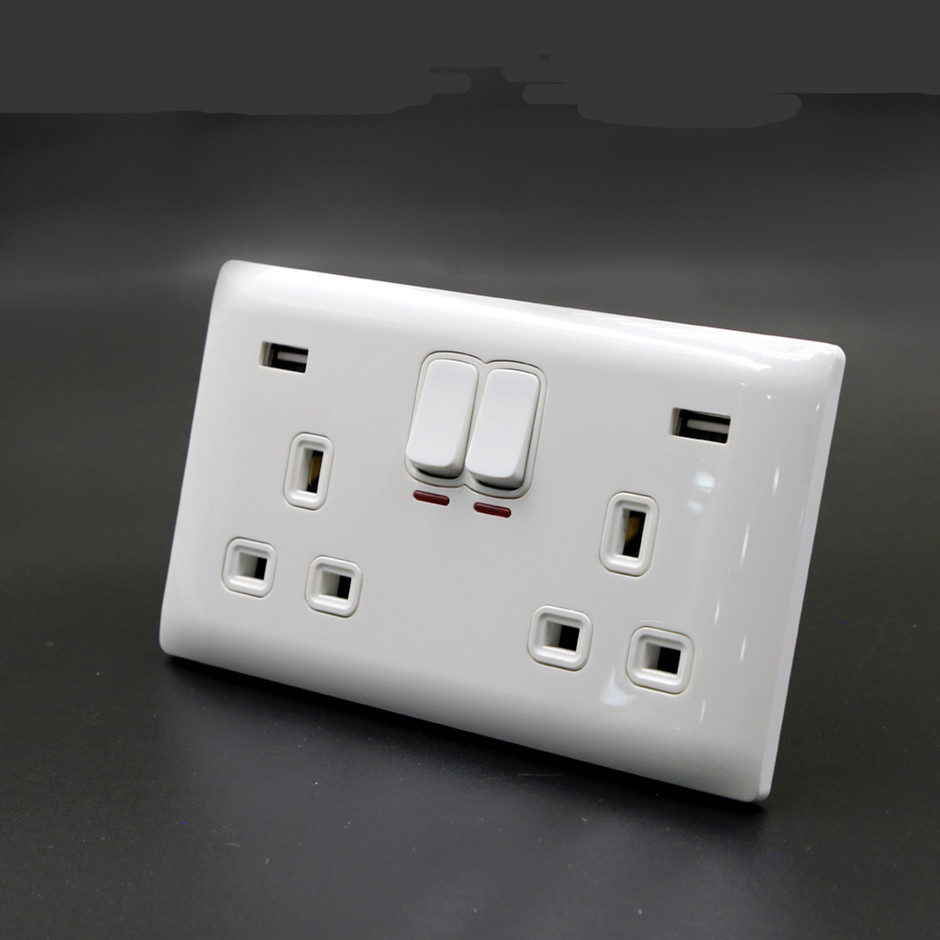 BIHU Usb Double Wall Socket 13 Amp Uk Plug 2 Gang Switch Electric Charger Power Port