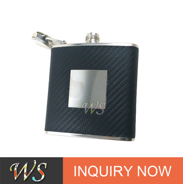 WS-HP052 Jack Daniel stainless steel leather hip flask