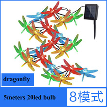 Dragonfly Solar Powered 20 LED String Lights Outdoor Party Christmas Holiday Party Wedding Garden Decoration