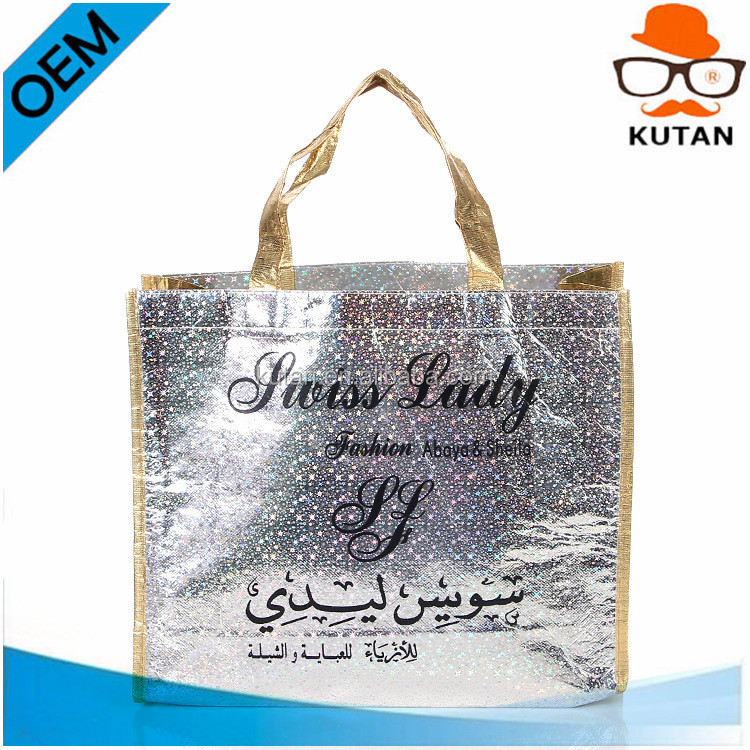 China wholesale non woven, polyester tote bag/silver laminated non-woven tote bag
