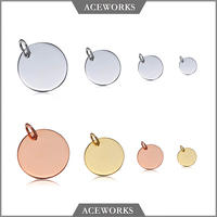 PT5201 Aceworks Wholesale 925 Sterling Silver Personalized Engraved Round Plate Tag Customize Pendant
