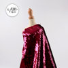 Fashion design new arrival polyester knit red 6mm flip mesh sequin embroidery fabric lace