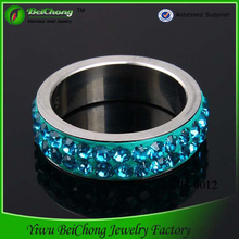 Wholesale 316L Stainless Steel Aquamarine Ring Light Blue stone Cubic Zirconia CZ Eternity Wedding Ring