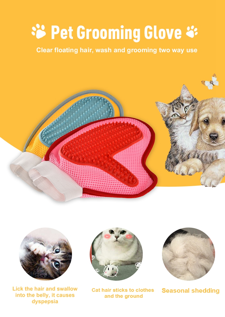 Customized cheap personalized pet hair pet grooming gloves brush, cat / dog pet gloves grooming  hair brush