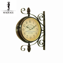 European Style black and whhite double sides antique wrough iron material 8inch dial wall clock