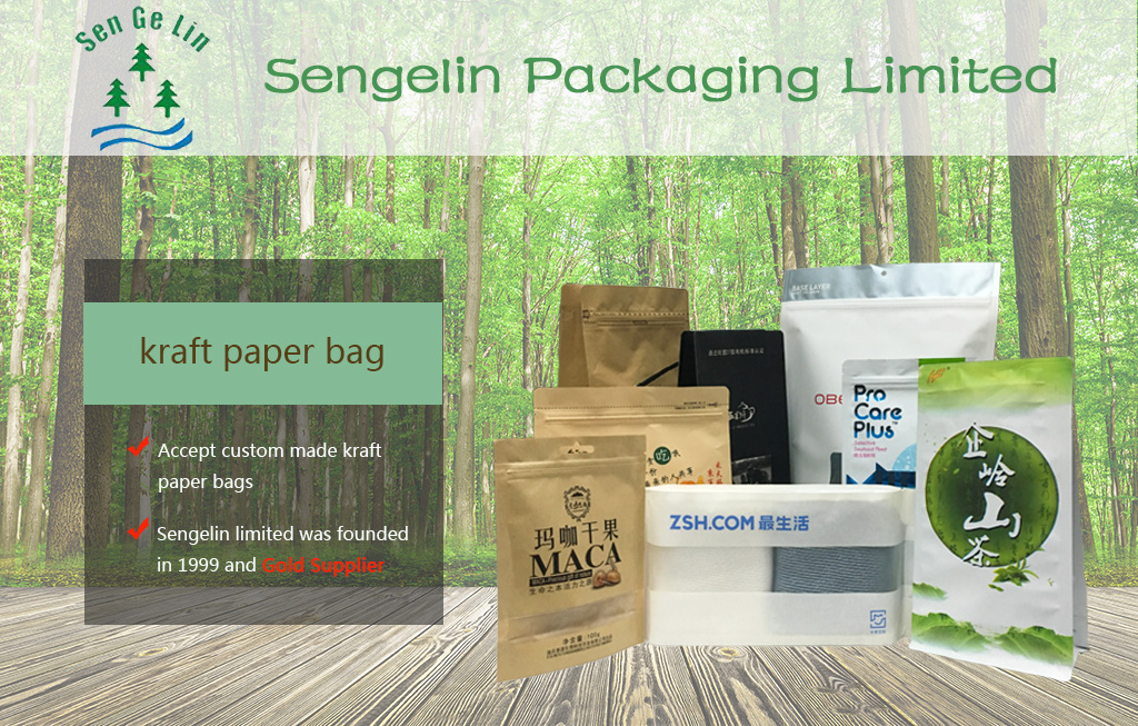 China supplier food grade resealable zipper food packaging flat bottom pouch kraft paper zipper bag with clear window