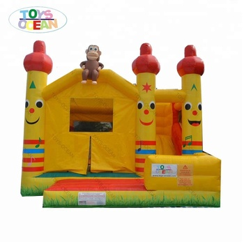 5x5m Monkey Jumping Bounce house Inflatable Castle Tropical Forest Combo