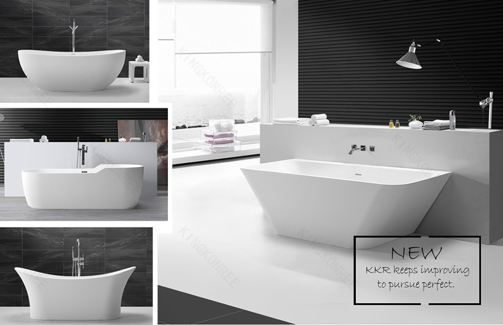 Popular white color stone freestanding bathtub with shower for Coloured free standing bath