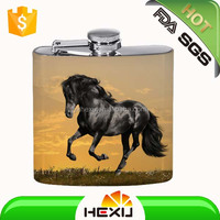 "6oz painting ""BRECK"" mini stainless steel hip flask"