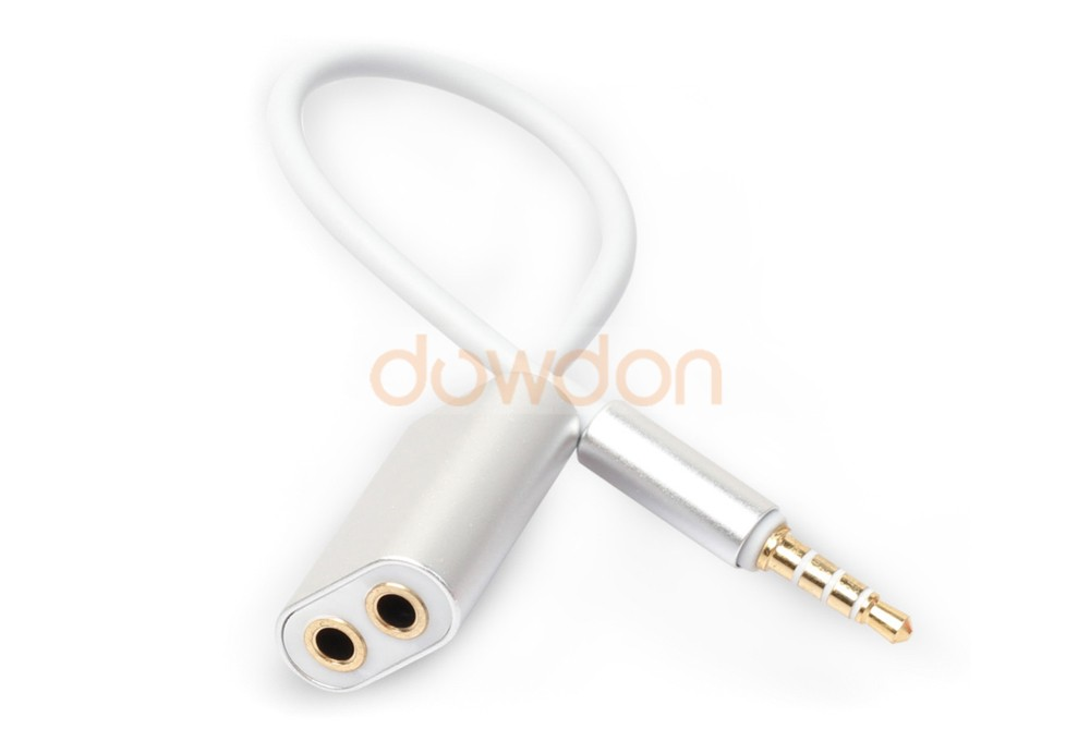 Aluminum 3.5mm Male to 2 Female Audio Headphone Splitter Cable Adapter for Smartphone