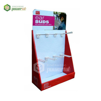 cardboard counter display stand with peg hooks