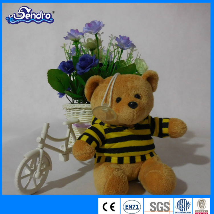 promotional custom stuffed plush clothing teddy bear keychain with suction cup